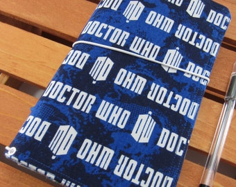 Doctor Who Logo FABdori, Fabric Travelers Notebook- Regular Size; Fauxdori: Midori Style Notebook