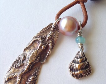 Mermaid Talisman MOM Necklace with Pearls On Leather