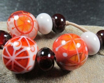 Chocolate, topaz and buttercream lampwork bead set (set 1)