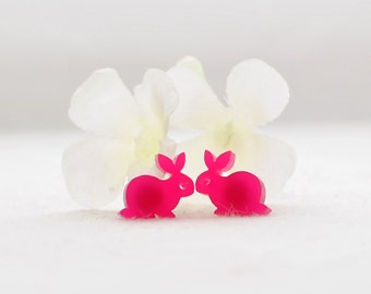 Hot Pink Bunny Rabbit Post Earrings Wee Wabbit - Rabbit Earrings - Bunny Jewelry - Bunny Earrings - Rabbit Jewelry - Woodland Animal -Nature