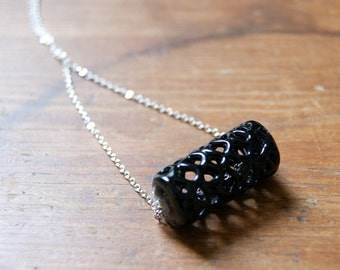 Spiderweb Bead Necklace - vintage black lace bead - black glass necklace - vintage silver plated chain - Autumn Jewelry - gift under 25