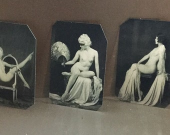 Lot of 3 Ziegfeld Alfred Cheney Johnson Risque Tintypes 409-411NP