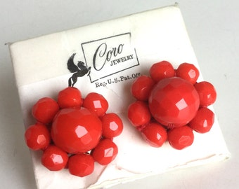 Vintage Red Cluster Earrings by Coro on Original Card - Vibrant Bright Red Pop of Color, Faceted Glass Beads, Gold Screw Backs - Circle Dome