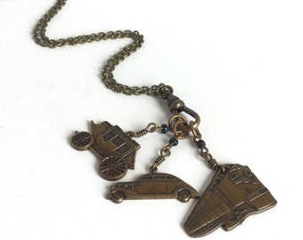 Vintage Antique Brass Necklace with Car, Train, and Stagecoach Charms - Travel Theme Charm Necklace - Vacation Going Places - Vintage Brass
