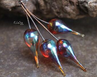 Iris - Handmade Lampwork Glass HeadPins - SRA Elasia MTO