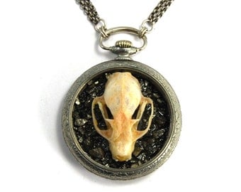 OSSUARY RELIC Gothic Skull Necklace Genuine Bat Skull Crushed Pyrite Antiqued Silver Antique Pocket Watch Case from Nouveau Motley