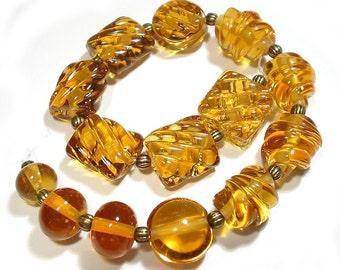 Amber Mix Handmade Glass Lampwork Beads