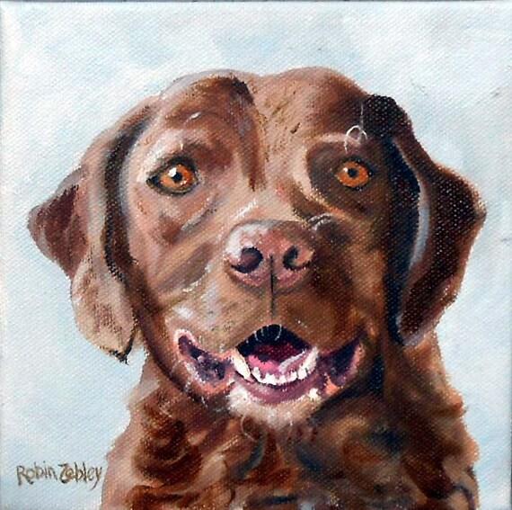 Square Custom Dog Portrait Painting, Oils on Canvas Pet Portrait, Chesapeake Bay Retriever or any Breed