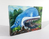 "Monstro the Whale 2.5""x3.5"" Miniature Painting on Canvas"