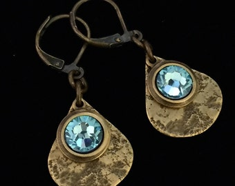 Granite Textured Brass Teardrops with Aquamarine Crystal Leverback Earrings