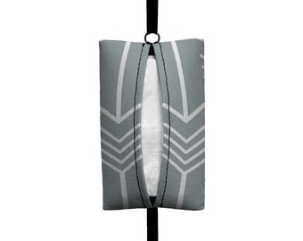Auto Sneeze - Arrows - Visor Tissue Case/Cozy - Car Accessory Automobile Light Grey White