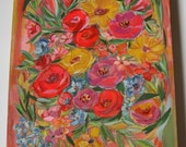 "Floral original art painting on wood 16x20x2"""