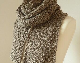 Handknit long scarf made with handspun luxury yarn - READY TO SHIP