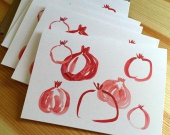 Pomegranate Note Cards - Watercolor Pomegranate Folded Note Cards - Blank Pomegranate Cards - Box of 6
