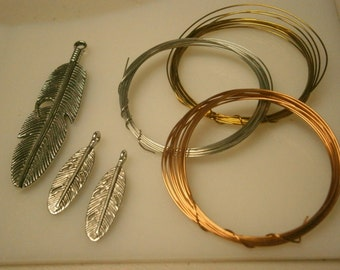 Jewelry Wire and Silvertone Feathers Lot, Jewelry Making Findings, Willow Glass
