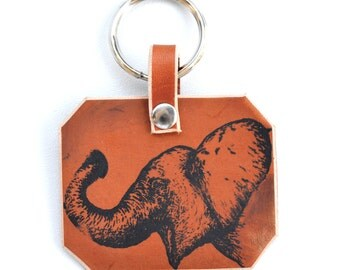 Elephant Key Ring, Key Chain, Brown Leather