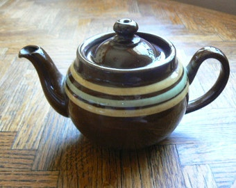 Vintage Brown Glazed Tepot with Rings from Japan