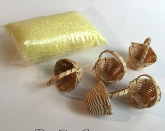 Easter Basket KIT with YELLOW Grass - Super Fine for Miniature Easter Baskets - Dollhouse Supplies