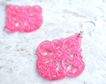 The Marrakesh- Bright Pink Lucite Chandelier Earrings