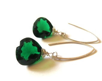 Large Gemstone Earrings,  Emerald Green Quartz,  Wire Wrapped Briollette, Sterling Silver, May Birthstone, Heart Shaped, Unique Gift for Her