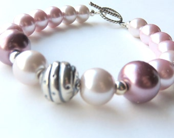 Pastel Pink Pearl Bracelet - Boho Beaded Bracelet - Pink and Silver Pearl Jewelry - Gift for Her - Mauve Glass Pearls - Fashion Jewelry