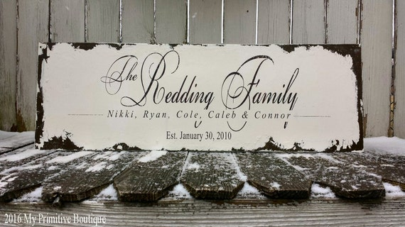 Shabby Chic FAMILY NAME SIGN   Established Sign   Wedding Sign   Anniversary Gift   Hand Painted Wooden Sign   Sepia