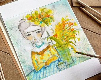 Frida with flowers - Original watercolor painting by Danita, frameable wall art prints and ready to hang wood blocks.