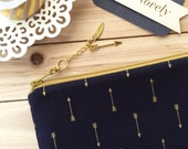 Gold arrows on navy - Pencil case, zipper pouch clutch, planner accessories - with detachable charm