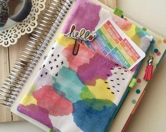 Watercolor print , planner pouch , planner accessories , planner bag , zipper pouch , pencil pouch , tassel charm , planner accessory
