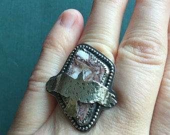 Soaring Crow Ring | Wild Horse Magnesite | Sterling Silver | Bird Ring | Statement Ring