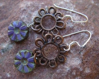 Purple and Antique Copper Flower and Sterling Silver Earrings