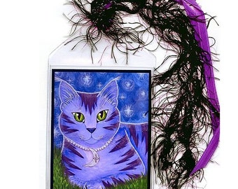Moon Cat Bookmark Astra Purple Cat Bookmarker Celestial Cat Stars Whimsical Cat Art Mini Bookmark Gift For Cat Lover