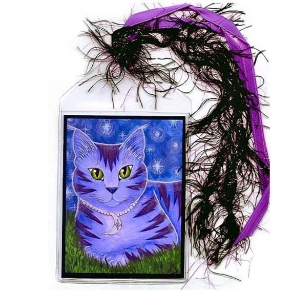 Moon Cat Bookmark Astra Purple Cat Bookmarker Celestial Cat Stars Whimsical Cat Art Mini Bookmark Gift For Cat Lover