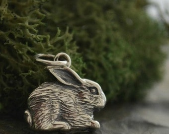 Sterling silver bunny rabbit charm. Easter, hare, diy jewelry, add to your bracelet or necklace.