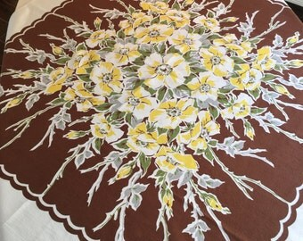 Vintage Tablecloth - Rare Chocolate Brown Yellow Floral MedallionPrinted Table Linen with Scalloped Border - Rich Retro Colors