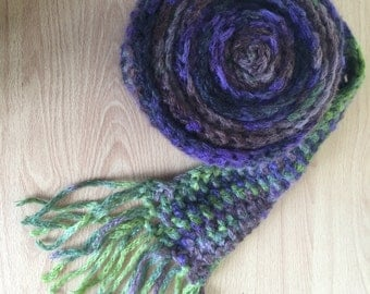 Extra long crochet scarf in elegant purple and green made from silk and mohair mix