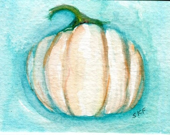 ACEO original White Pumpkin Watercolor Painting, ACEO Art, watercolors painting, ghost pumpkin art, small kitchen decor, miniature painting