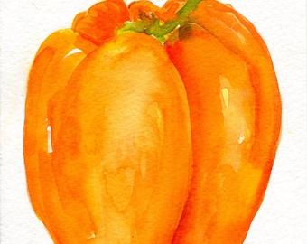 Orange Bell Pepper  watercolor painting original 5 x 7, pepper illustration, food art, kitchen wall art