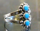 Zuni Ring Turquoise in sterling silver southwestern vintage Native American Indian Jewelry size 5 5.5