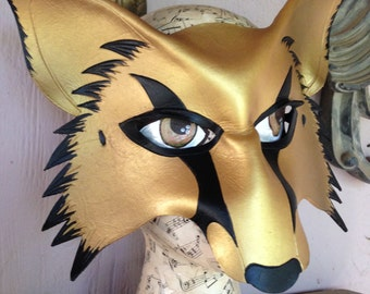 Gold wolf, kitsune leather mask, cosplay fox mask