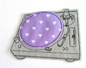 Gray turntable iron on patch - sew on patch - music applique - dj equipment - band patch - embellishment -iron on - heart felt