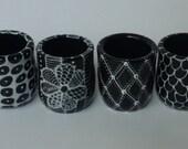 4 Black and WHite Shot Glasses for BRENDALOVESIT