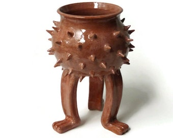 Ceramic Planter - Spiky Succulent Pot - Grouchy Planter Pot with Spikes and Sculpted Feet - Rusty Rose