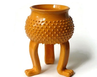 Orange Grouchy Planter Pot with Spikes and Sculpted Feet