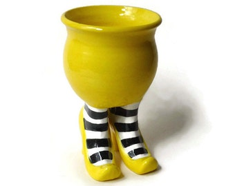 Ceramic Succulent Pot - Sex Pot with High Heels and Striped Leggings - Bright Yellow