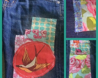 Artist creates OOAK custom patchwork for your jeans