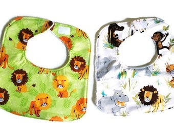 Adventures in the Wild Baby Bib Set, Baby Boy Bib, Handmade Baby Bibs Set of 2, Animal Print Bib, 144 Collection