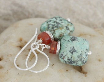 African Turquoise and Agate Sterling Hill Tribe Silver Dangle Artisan Earrings // Natural Gems // luluglitterbug