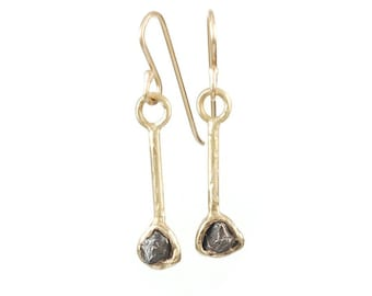 Meteorite Earrings in 14k Yellow Gold - Size Medium - Ready to ship