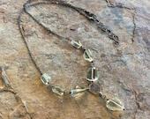 RESERVED- PRASIOLITE necklace, Prasiolite nugget sterling silver necklace, light green gemstone